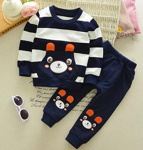 BOTEZAI Baby Boy Clothes Spring Autumn Cartoon Bear long sleeve t-shirt +pants 2pc suits kids girls clothing Set Sport Tracksuit