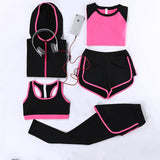 Women's Track Suits Tights Leggings 5 Piece Women Gym Fitness Yoga Suit Sport Costumes For Women Jogging Sportswear running sets