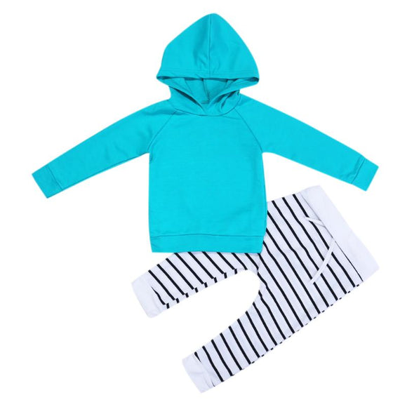 2pcs/set New Baby Girl Boy Clothes Infant Autumn Winter Warm Long Sleeve Solid Hooded Top + Striped Pants Outfits Kids Clothing