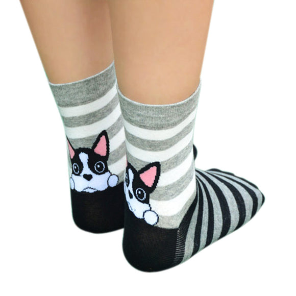 Socks Girls calcetines mujer Fashion 3D Print Funny Low Cut Xmas Socks Cotton Animal Dog Casual Sock meias - g-y-mega-store