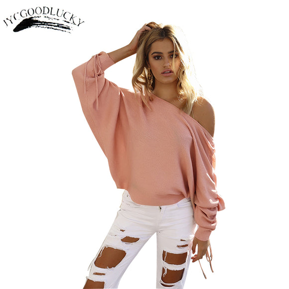 Lace Up Women Sweaters Harajuku Autumn Pull Femme Batwing Sleeve Pullovers For Women Knitted Sweaters Casual Ladies Clothing Top - g-y-mega-store