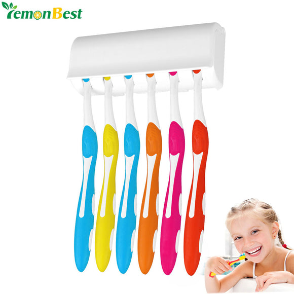 Wall Mount Toothbrush Holder Stand For 6 Toothbrushs With Cover Double-sided Tape Easy Installation Bathroom Set Accessories - g-y-mega-store