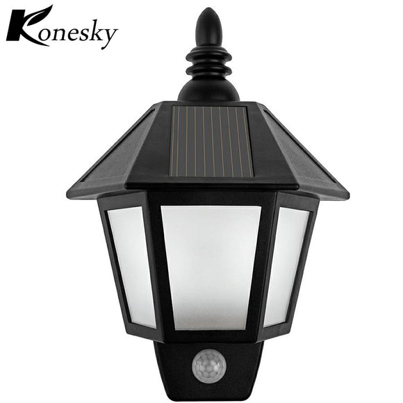 Waterproof LED Solar Light Motion Sensor Outdoor Activated Hexagonal Wall Lamp Garden Automatically ON at Night Path Lighting