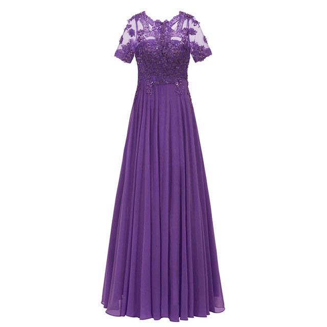 0bf3e2964cc ... Tanpell dark royal blue long evening dress lace beaded o neck short  sleeves ankle length dress ...