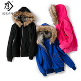 Factory Supply Women's Large Fur Hooded Coat Parkas Outwear Winter Thicken Jacket Sweatshirt Women Clothing Brand Style C6N184Y - g-y-mega-store
