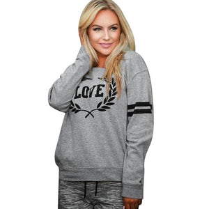 Autumn Sweatshirt 2017 New Arrival Womens Pullover Tops Casual Love Letters Printed Long Sleeve daily wearing Sweatshirts - g-y-mega-store