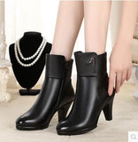 New Shoes Women Boots High Heels Ankle Boots Pointed Toe Genuine Leather Martin Boots Zip Ladies Shoes - g-y-mega-store