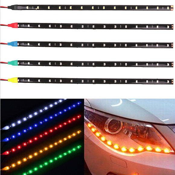 Waterproof Car Auto Decorative Flexible LED Strip HighPower 12V 30cm 15SMD Car LED Daytime Running Light Car LED Strip Light DRL - g-y-mega-store