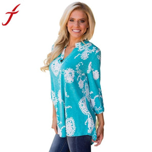 Feitong Brand Women Blouse Flower Printed Autumn Long Sleeve Plus Size Loose Casual Blouse Tops blusas mujer de moda 2017 - g-y-mega-store