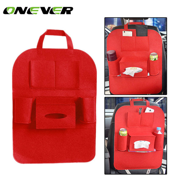 Onever Car Seat Back Bag Car Seat Organizer Travel Storage Bag Multi Auto Seat Back Accessories with Tissue Box Drinks Holder - g-y-mega-store