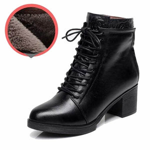 33-42 Lace up Spring Autumn Winter Boots Women Shoes Warm Fur Addible Ankle Boots Martin Boots High Heels Genuine Leather Boots
