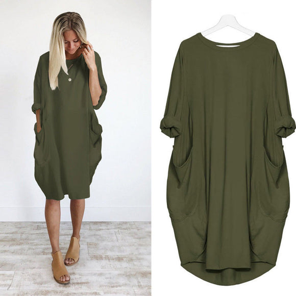 Womens Pocket Loose Dress Ladies Crew Neck Casual Long Tops Dress Plus Size - g-y-mega-store