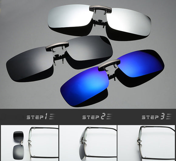 Detachable Night Vision Lens Driving Metal Polarized Clip On Glasses Sunglasses - g-y-mega-store