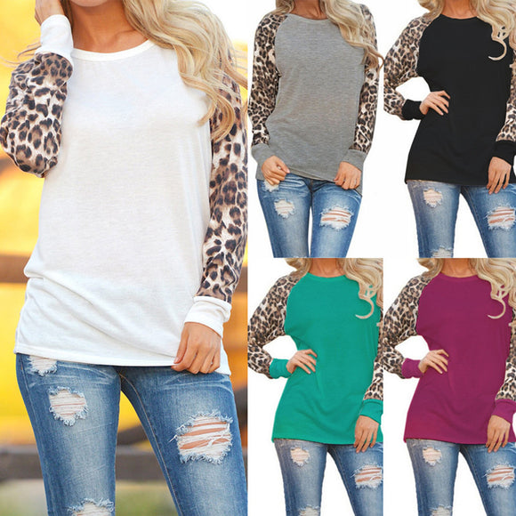 Womens Leopard Blouse Long Sleeve Fashion Ladies T-Shirt Oversize Tops - g-y-mega-store