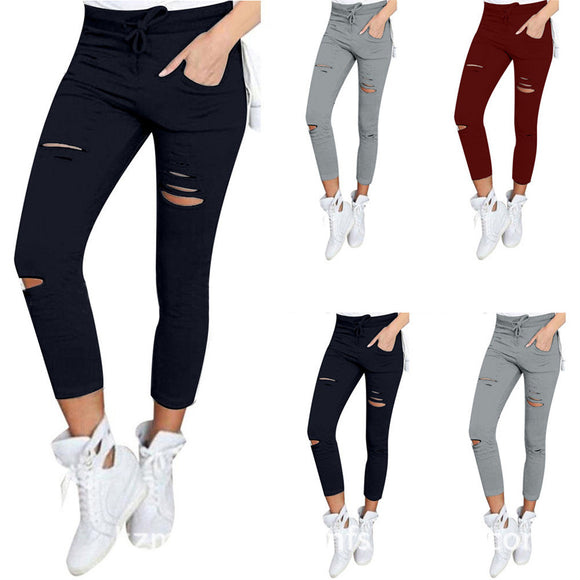 Women Skinny Ripped Pants Leggings High Waist Stretch Slim Pencil Cropped Ninth Trousers - g-y-mega-store