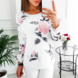 Womens Casual Floral Long Sleeve Sweatshirt Pullover Tops Blouse - g-y-mega-store