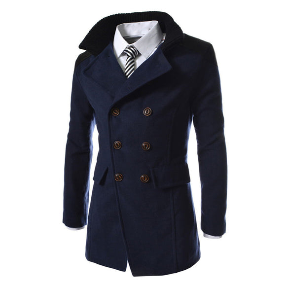Men Jacket Warm Winter Trench Long Outwear Button Smart Overcoat - g-y-mega-store