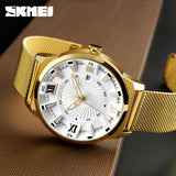 New SKMEI Luxury Brand Gold Stainless Steel Band Watch Men Business Casual Quartz Watches Dress Wristwatch Waterproof Relogio - g-y-mega-store