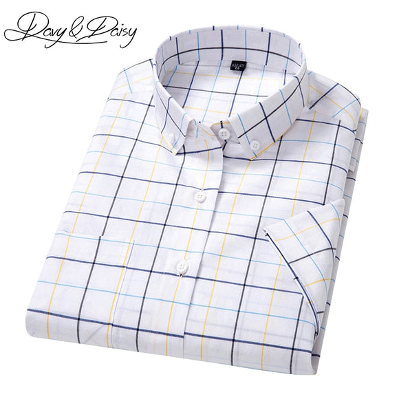 DAVYDAISY New Arrival Brand Plaid Shirt Men Summer Slim Fit Dress Casual Short Sleeve Shirt Male Camisas 15 Colors DS-174