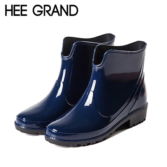 HEE GRAND Rain Boots Platform Women Ankle Boots Casual Rubber Shoes Woman Leopard Slip On Flats Women Shoes Size 36-40 XWX4395 - g-y-mega-store