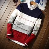 2018 Casual Men's Long-sleeved Sweater V-neck S M 2XL 3XL Blue Wine Red Men Sweaters Fashion Slim Comfortable Elegance Clothing