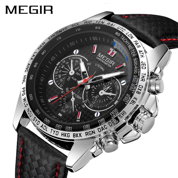 MEGIR Fashion Top Brand Sports Watches Men Leather Luxury Quartz Military Wrist Watch Waterproof Clock Male Relogios - g-y-mega-store