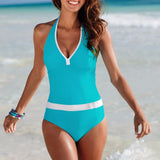 V neck One Piece Bikini Swimsuit Sexy Paded Swimwear with Bandages for Women