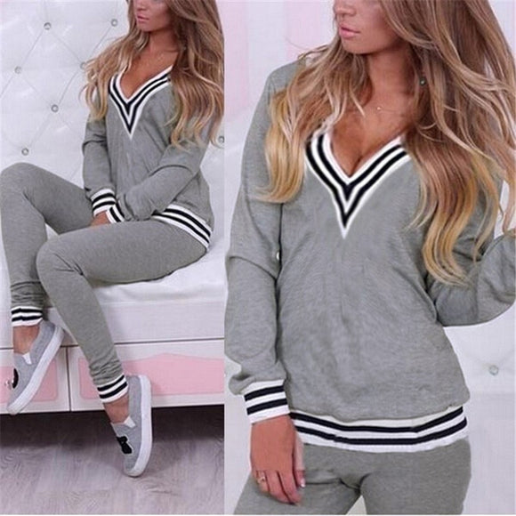 2 Piece Sets Autumn Fashion Women Casual Sportswear Long Sleeve Tracksuits Sweatshirt Pullover+Pants Costumes Female Workout Set - g-y-mega-store