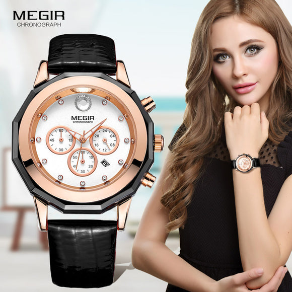 Luxury Brand Women Quartz Watches Woman Chronograph Leather Strap Wrist Watches Chronograph Waterproof Wristwatch clock female - g-y-mega-store
