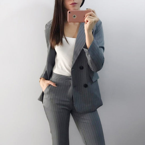 Work Fashion Pant Suits 2 Piece Set for Women Double Breasted Striped Jacket & Trouser Office Lady Suit Feminino 2018