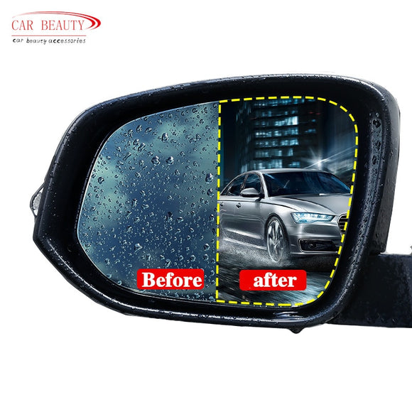 2pcs Rainproof Car Rearview Mirror Film Sticker Anti-fog Protective Film Rain Shield Replacement - g-y-mega-store