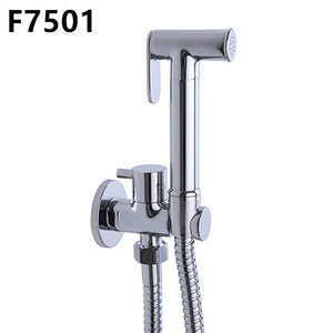 Frap 1 Set Solid Brass Single Cold Water Corner Valve Bidet faucets Function square Hand Shower Head Tap Crane 90 Degree Switch - g-y-mega-store