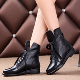 2018 Women Fashion Vintage Genuine Leather Shoes Female Autumn Winter Ankle Boots Woman Lace Up Casual Boots - g-y-mega-store