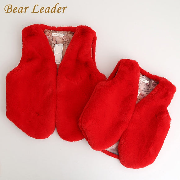 Bear Leader 2018 New Autumn∫er Style Family Matching Fur Vest Mother And Daughter Fashion Luxury Fur Vest Girl Clothing - g-y-mega-store