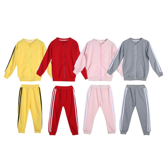 2pcs/set Autumn Baby Clothes Suits Infant Boy Girl Sportswear Casual Long Sleeve Zipper Coat+Pants Newborn Outfits Set Costumes
