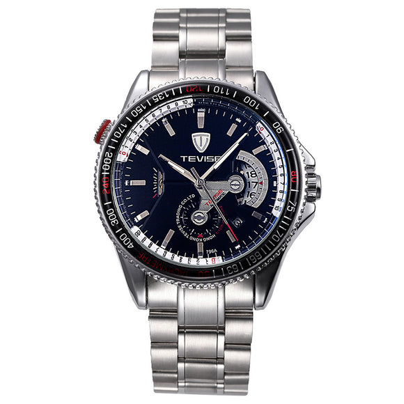TEVISE Brand Water-Proof Automatic Mechanical Men Watch Luminous Stainless Steel Band Self-Wind Mechanical Wristwatch Sports Casual Watch - g-y-mega-store