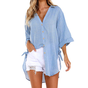 Womens Loose Button Long Shirt Dress Cotton Ladies Casual Tops T-Shirt Blouse - g-y-mega-store