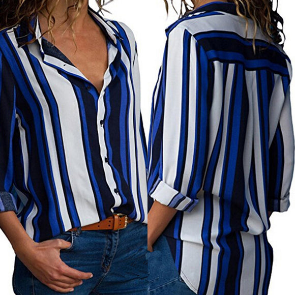 Women Casual Cuffed Long Sleeve V-Neck Button Up Striped Shirt Blouse Tops - g-y-mega-store