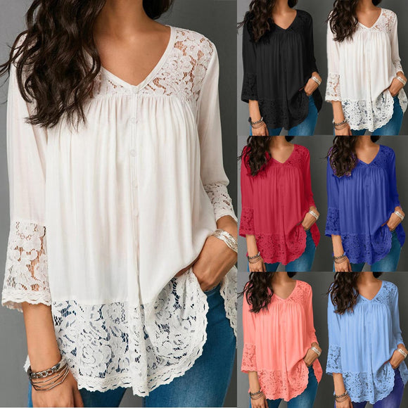 Women Loose Three Quarter V-Neck T Shirts Tops Lace Blouse - g-y-mega-store