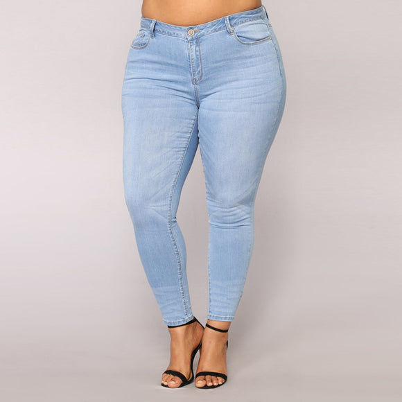Women Plus Size Ripped Stretch Slim Denim Skinny Jeans Pants High Waist Trousers - g-y-mega-store