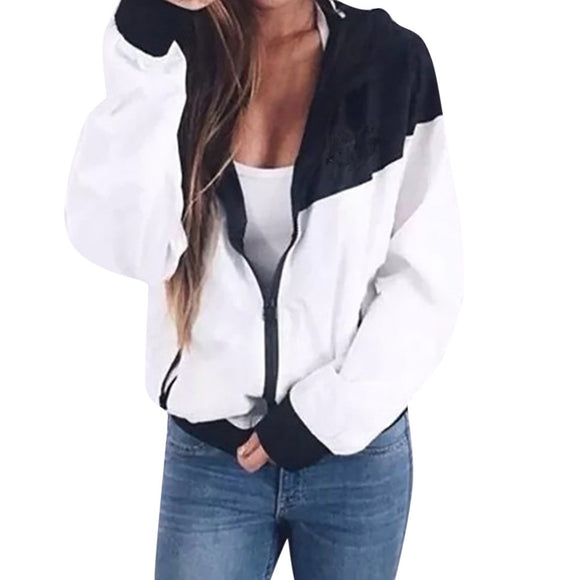 Women Long Sleeve Patchwork Thin Skinsuits Hooded Zipper Pockets Sport Coat - g-y-mega-store