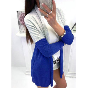 Women Long Sleeve Spling Color Open Front Cardigan Blouse Tops - g-y-mega-store