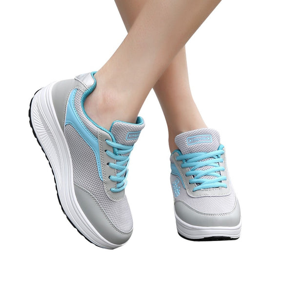 Fashion Women Mesh Heightening Shoes Soft Bottom Rocking Shoes Sneakers - g-y-mega-store