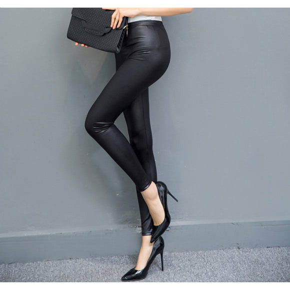 Sexy Women Leggings Faux Leather Slim Fit Pants Elastic Stretchy Pants - g-y-mega-store