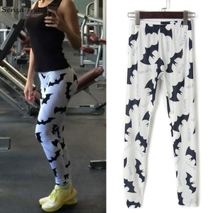 Women Sexy Skinny Leggings Stretchy Jeggings Slim Bat Print Pencil Pants One Size - g-y-mega-store