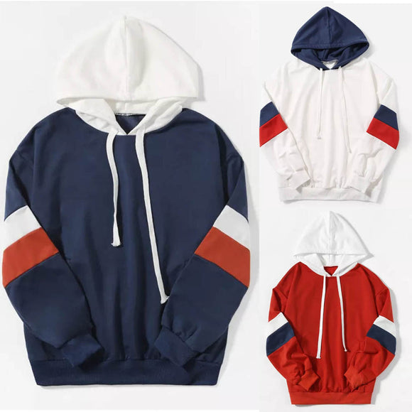 Women Long Sleeve Casual Hooded Sweatshirt Pullover Top Blouse - g-y-mega-store