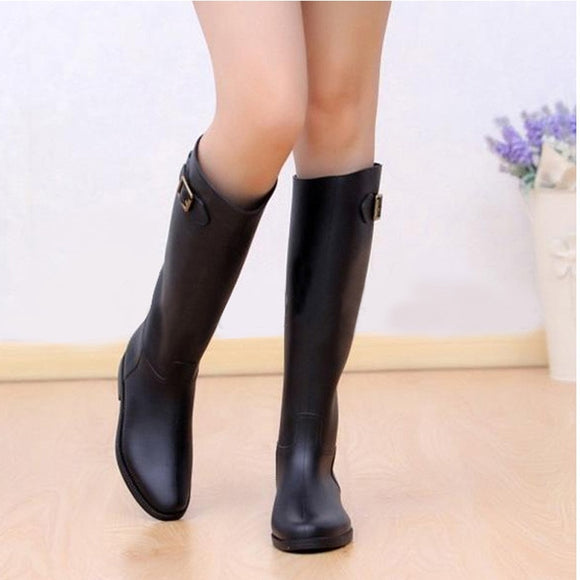 Spring Autumn Women New Fashion Rain High Knee Length Black Rubber Boots Shoes Waterproof Wellies 5 Sizes - g-y-mega-store
