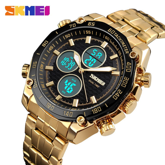 SKMEI Luxury Mens Watches Gold Quartz Watch Analog Digital Sport Stopwatch Alarm Military Watch Waterproof Casual LED WristWatch - g-y-mega-store