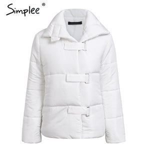 Simplee Turndown collar square buckle loose winter women coat parka Casual white thick outerwear Winter warm down jacket ukraine