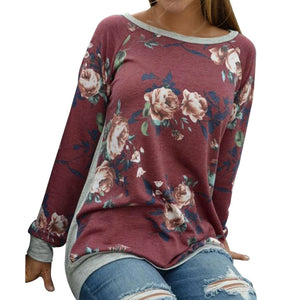 Women Autumn Long Sleeve Floral Printing Shirt Casual Blouse Tops - g-y-mega-store